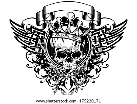 Vector illustration skull with crown tribal wings - stock vector