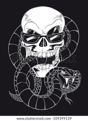 Vector illustration skull with snake on black background - stock vector