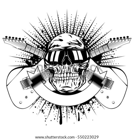 Vector illustration skull with sunglasses and crossed guitars on grunge background. Design rock and roll sign for t-shirt or poster print