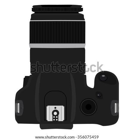 Vector illustration slr camera top view. Dslr realistic photo camera icon - stock vector