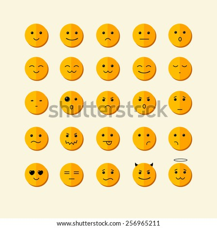 Vector illustration smile icon set  with different face. Flat Design - stock vector