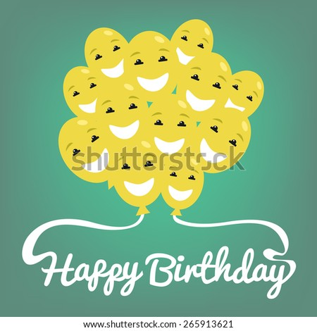Vector illustration. Smiling cheerful balloons and text happy birthday. Perfect for greeting cards and party invitations - stock vector