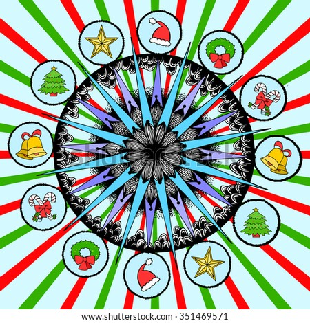 Vector illustration, snowflake mandala template, freehand drawing suitable for print and pattern, card concept. - stock vector