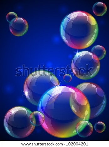 Vector illustration - soap bubbles background. Eps10 vector file, contains transparent objects and opacity mask. - stock vector