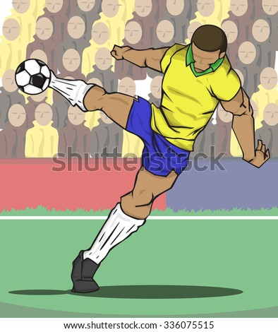Vector illustration Soccer player kicking the ball and fan ball background