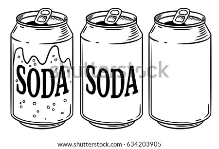 can clipart black and white. vector illustration soda can isolated on white background. hand drawn style sketch. for restaurant clipart black and r