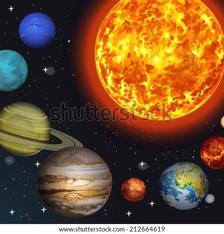 Vector illustration Solar system - stock vector