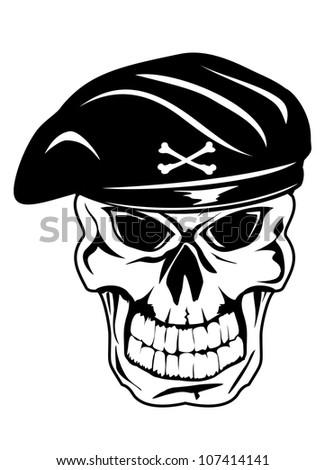 Vector illustration soldier skull in beret - stock vector