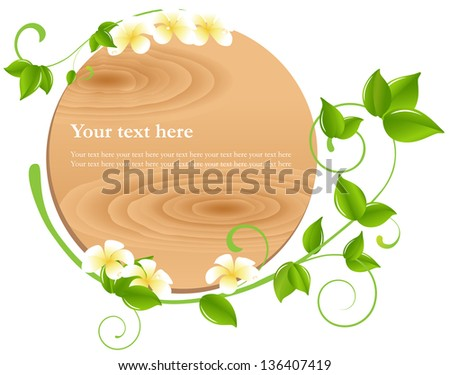 Vector illustration: Spa, flower & leaf theme blank sign graphic design element for cards & background (Part 10) - stock vector