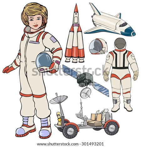 Vector illustration, spaceman gear, cartoon concept, white background. - stock vector