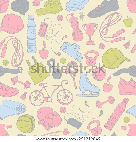 Vector illustration Sport and fitness seamless doodle pattern