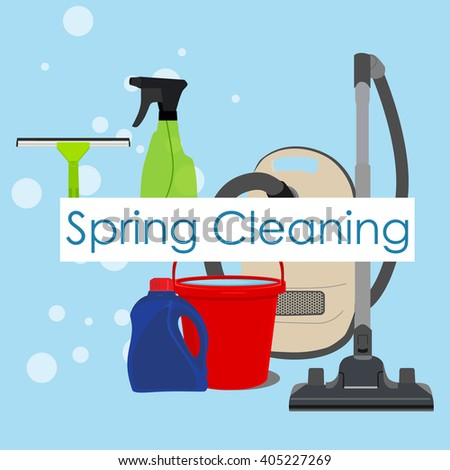 Vector illustration spring cleaning with cleaning equipment. Housework appliance - bucket, vacuum cleaner, bottle, spray and window squeegee. Spring cleaning background, card - stock vector