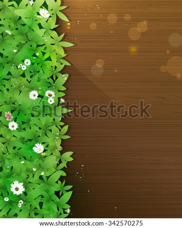 Vector illustration Spring nature background. Green grass and leaf plant, White Gerbera, Daisy flowers and sunlight over wood floor with water dew drops. Blank space for content or your design - stock vector