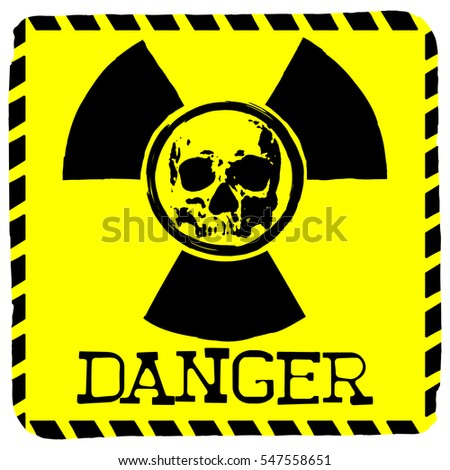 Vector illustration square yellow symbol radiation to skull with lettering danger