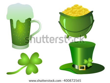 Vector illustration. St.Patrick 's Day. Beer, clover, pot of gold and rainbow on a white background.