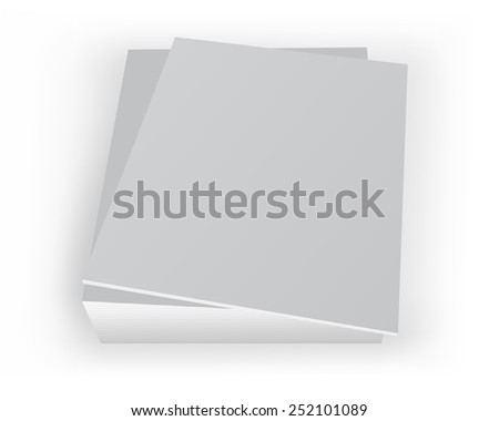 Vector illustration. Stack of blank covers mockup magazines template on white background with soft shadows.3d image. - stock vector