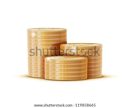 Vector illustration stacks of golden coins isolated on a white background. - stock vector