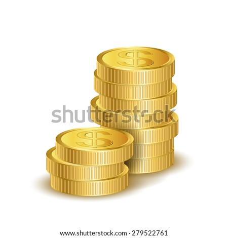Vector illustration stacks of golden coins isolated on a white background - stock vector