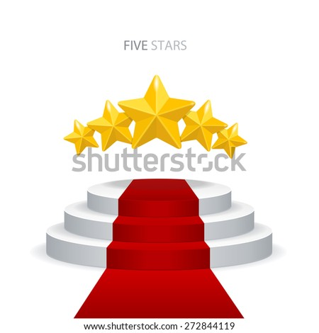 Vector illustration stage podium with red carpet and stars on white background. VIP concept. - stock vector