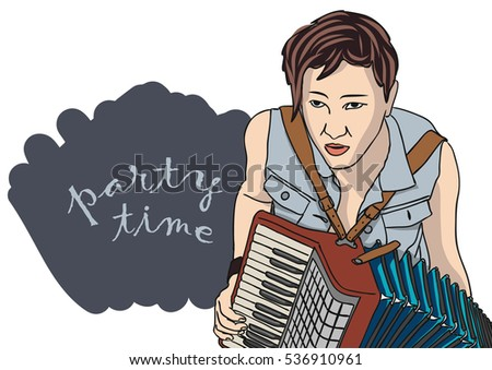 Vector illustration steampunk accordion player.