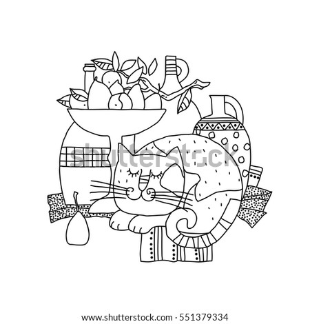 Vector Illustration Still Life Sleeping Cat Stock Vector 551379334