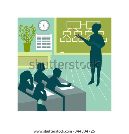 vector illustration. students of teacher, education, school, classroom, lesson, exam, - stock vector