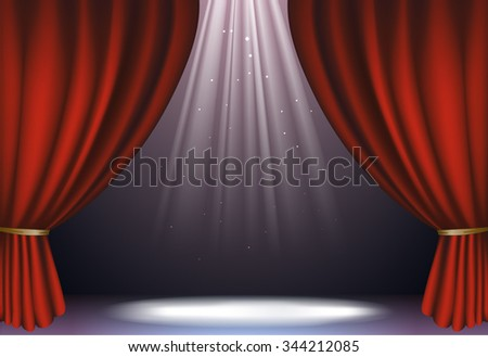 vector illustration stylized banner to stage with dark red curtains light falling from top