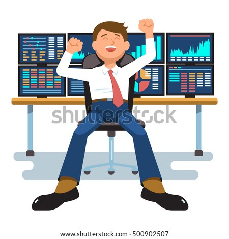 Vector Illustration Successful Businessman Young Trader ...
