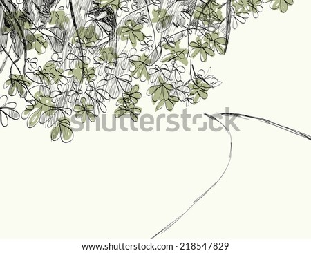 vector illustration  summer landscape with  road and foliage - stock vector