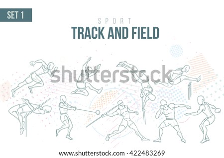 vector illustration Summer Olympics in 2016 in Rio, Rio Olympic Games, sports games track and field sport hand-drawn doodles sport. running, long jump hurdles, pole vault, javelin disc nucleus. set 1 - stock vector