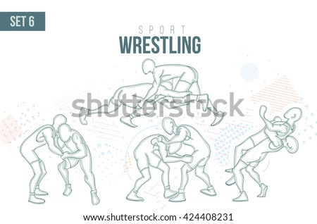 vector illustration Summer Rio Olympic Games, sports games. graphic sport wrestling. design sports booklets flyers. sports hand-drawn wrestling doodles sport. set 6 - stock vector