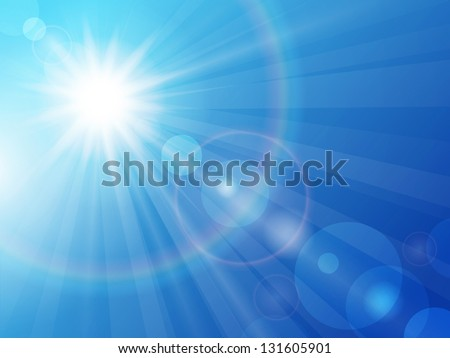 Vector illustration sun in the blue sky - stock vector