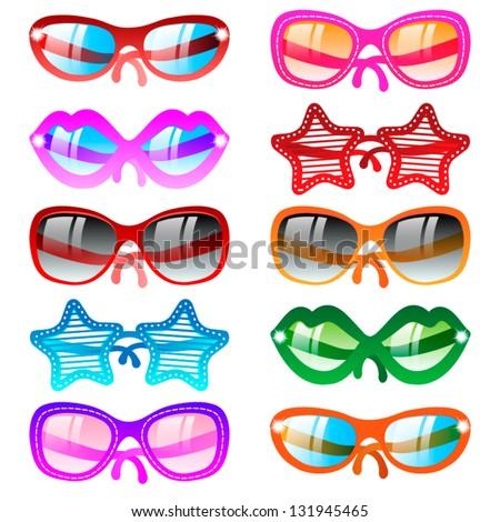 Vector illustration sunglasses icons. Ten multicolor set - stock vector