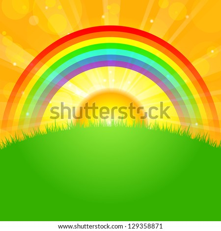Vector illustration sunrise over field - stock vector
