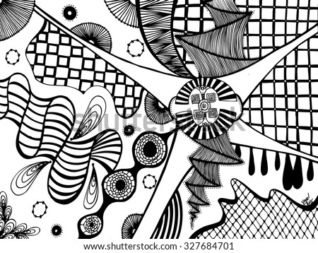 Vector illustration, surreal picture in black and white, card concept.  - stock vector