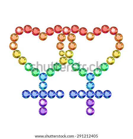 Vector illustration: symbol of lesbian  couple made of rainbow crystals isolated on white background - stock vector