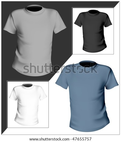 Vector illustration. T-shirt design template. Black, white and gray.