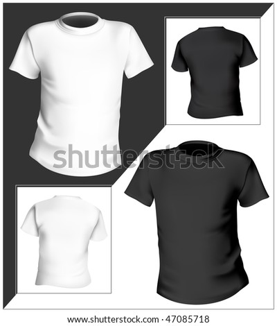 Vector illustration. T-shirt design template (front & back). Black and white. - stock vector