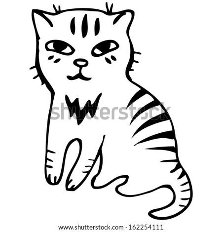 Vector illustration. Tabby cat. Black outline sketch - stock vector