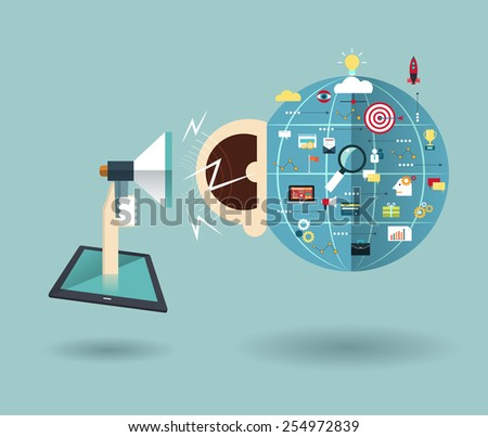 Vector illustration-Tablet and hand of businessman with megaphone.On line Advertising- Social media -Mobile phones technology business concept   - stock vector