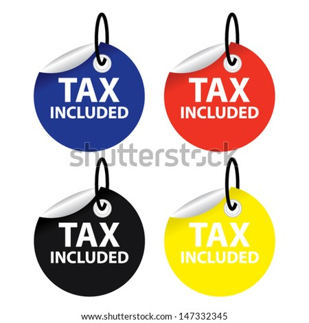 Vector illustration. Tax included shopping stickers and tags set.