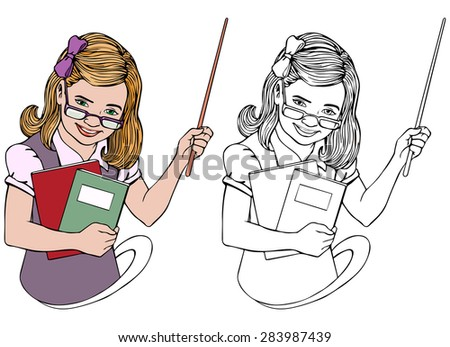 Vector illustration, teacher, coloring drawing, card concept, white background.