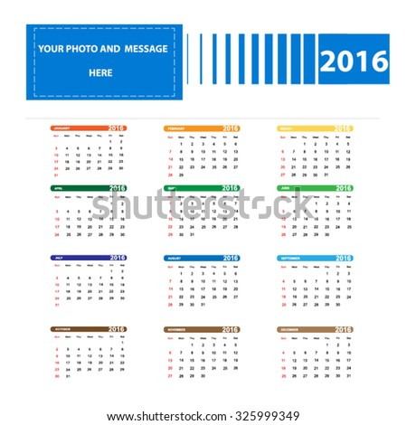 Vector illustration; Template Calendar, 2016. Can be used in print advertising and public relations.