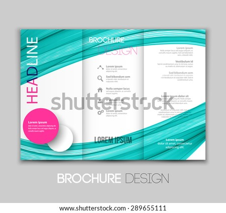 Vector illustration template leaflet design with color lines - stock vector