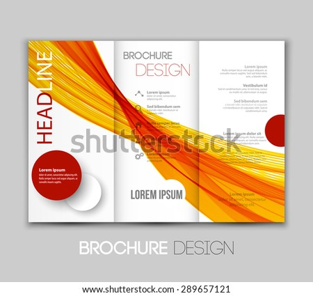 Vector illustration template leaflet design with color lines