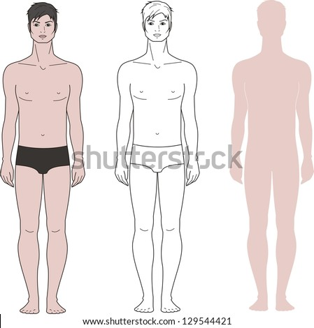 Vector illustration. Templates of man's figure. Three options - stock vector
