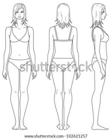 vector illustration templates womans figure front stock vector