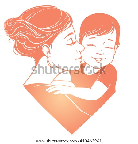 Vector illustration. Tender hugs of mother and her child