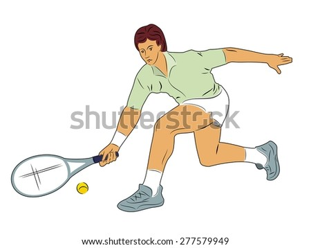 vector illustration tennis player. color silhouette on white background - stock vector