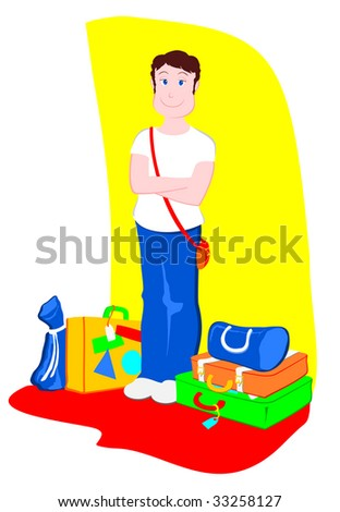 Vector illustration that depicts a young tourist smiling next to her suitcases